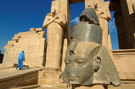 Egypt, Upper Egypt, Nile Valley, surroundings of Luxor, Thebes Necropolis listed as World Heritage by UNESCO, Western area, Ramesseum, Ramses II´s funerary temple : Stock Photo