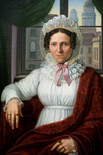 Germany, Berlin, Museum Island, listed as World Heritage by UNESCO, the museum of the former National Gallery Alte Nationalgalerie, painting by Johann Erdmann Hummel 1769_1852 portrait of Luise Mila : Stock Photo