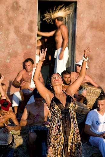 Spain, Balearic Islands, Ibiza island, Benniras beach, during summer, drum concerts are taking place every sunday afternoon : Stock Photo