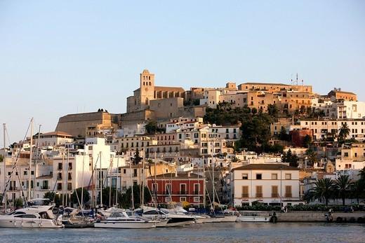 Spain, Balearic Islands, Ibiza island, Eivissa Ibiza city, Dalt Vila High Town listed as World Heritage by UNESCO : Stock Photo