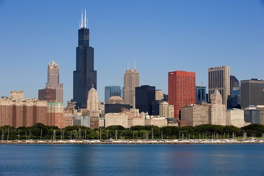 United States, Illinois, Chicago, The Chicago Skyline on the Michigan lake : Stock Photo