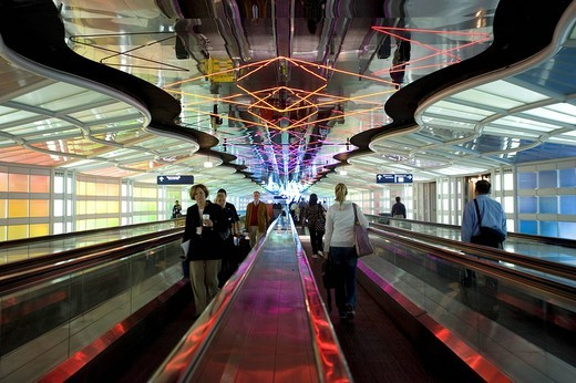 United States, Illinois, Chicago, O´Hare new international airport, pedestrians on the moving walkway : Stock Photo