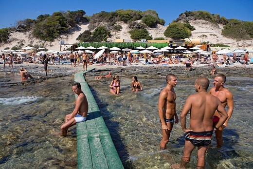 Spain, Balearic Islands, Ibiza island, Las Salinas Beach, Sa Trincha Beach : Stock Photo