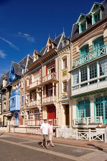France, Somme, Mers les Bains, seaside villas : Stock Photo