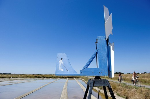 France, Vendee, Ile de Noirmoutier, salt marshes, wind vane : Stock Photo