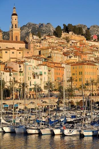 France, Alpes Maritimes, Menton, the harbor and the Basilique Saint Michel Saint Michael basilica : Stock Photo