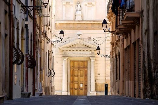 France, Alpes Maritimes, Menton, Rue De Brea, the Chapelle des Penitents Noirs Black Penitents chapel : Stock Photo