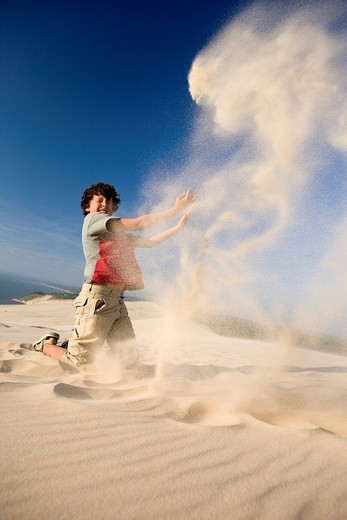 Stock Photo: 1792-111535 France, Gironde, dune du Pyla the Great Dune of Pyla, the largest sand dune in Europe, playing with sand and wind