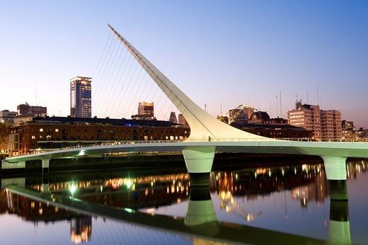 Argentina, Buenos Aires, Puerto Madero District, Puente de la Mujer Bridge by the architect Santiago Calatrava : Stock Photo