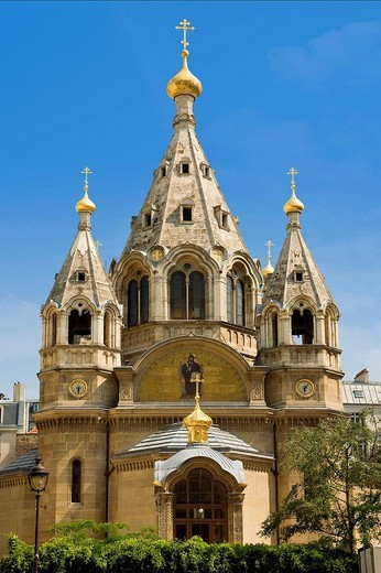 France, Paris, Russian Orthodox Cathedral of Saint Alexandre Nevsky in 12 Rue Daru : Stock Photo