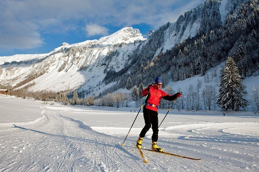 France, Haute Savoie, Le Grand Bornand, Bouchet Valley and Nordic ski area : Stock Photo