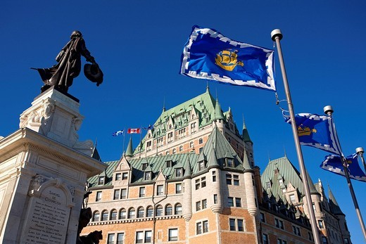 Stock Photo: 1792-112171 Canada, Quebec Province, Quebec City, Old Town listed as World Heritage by UNESCO, Samuel de Champlain statue and Chateau Frontenac, flag of Quebec City