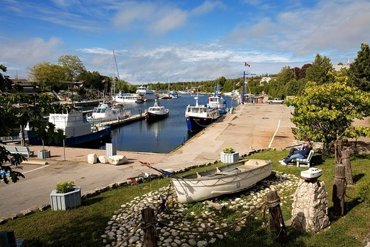 Stock Photo: 1792-112250 Canada, Ontario Province, Bruce Peninsula, Tobermory, the harbour and fishing boats