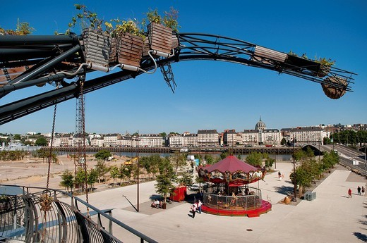 Stock Photo: 1792-112369 France, Loire Atlantique, Nantes, Ile de Nantes, Les Machines de l´Ile the Machines of the Island in warehouses of the former shipyards, artistic project conceived by Francois Delaroziere and Pierre Orefice, the prototype branch of the heron´s tree