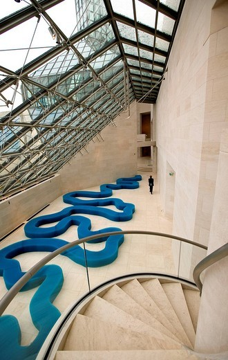 Luxembourg, Musee d'Art Moderne Grand_Duc Jean Modern Art Museum or MUDAM by architect Ieoh Ming Pei : Stock Photo