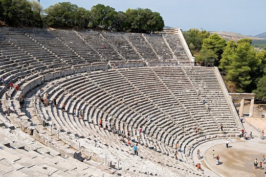 Stock Photo: 1792-112796 Greece, Peloponnese Region, the archaeological site of Epidaurus, listed as Wolrd Heritage by UNESCO, the theater built in the fourth century BC by the Argien architect Polykleitos the Younger