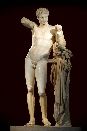 Greece, Peloponnese Region, Olympia, the Archaeological Museum, statue of Hermes bearing the infant Dionysus by Praxiteles of the 4th century BC in Paros marble : Stock Photo