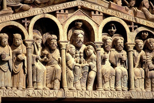 Stock Photo: 1792-113379 France, Aveyron, Conques, a stop on el Camino de Santiago, labelled Les Plus Beaux Villages de France The Most Beautiful Villages of France, detail of the tympanum of the Last Judgment of Sainte Foy Abbey church of the 11th century