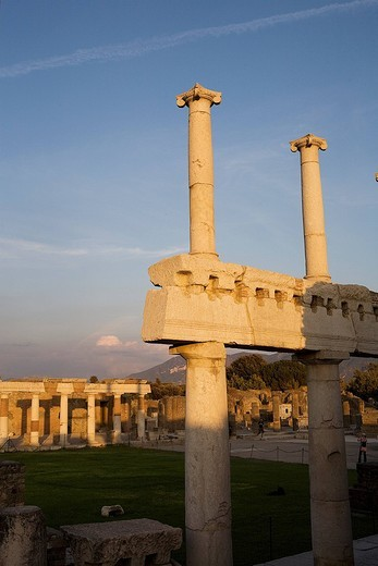 Italy, Campania, Pompei, archeological site listed as World Heritage by UNESCO, the Forum : Stock Photo