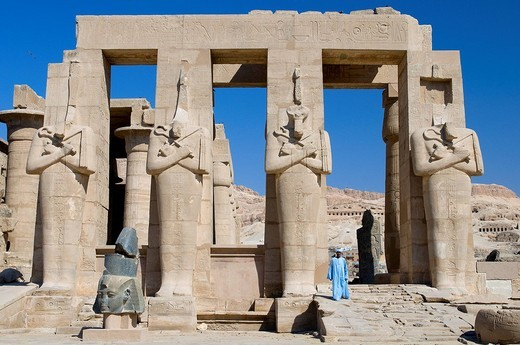 Stock Photo: 1792-114835 Egypt, Upper Egypt, Nile Valley, surroundings of Luxor, Thebes Necropolis listed as World Heritage by UNESCO, Western area, Ramesseum, Ramses II´s funerary temple, Osiris Pillars