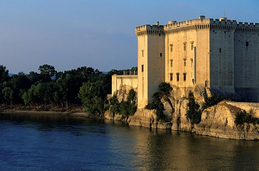 France, Bouches du Rhone, Tarascon, King Rene´s Castle of the 14th and 15th century on the Rhone River banks : Stock Photo