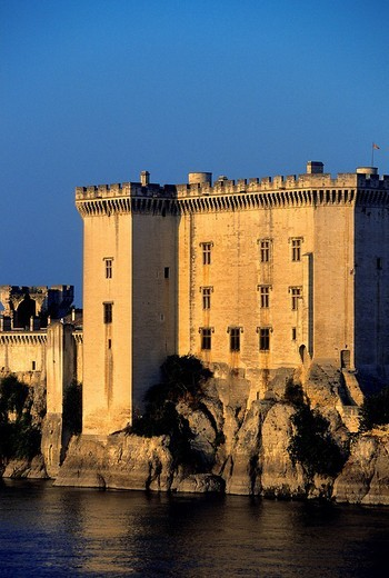 France, Bouches du Rhone, Tarascon, King Rene´s Castle of the 14th/15th century on the Rhone River banks : Stock Photo