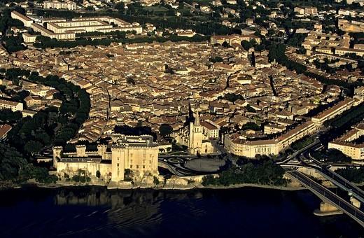 France, Bouches du Rhone, Tarascon aerial view : Stock Photo