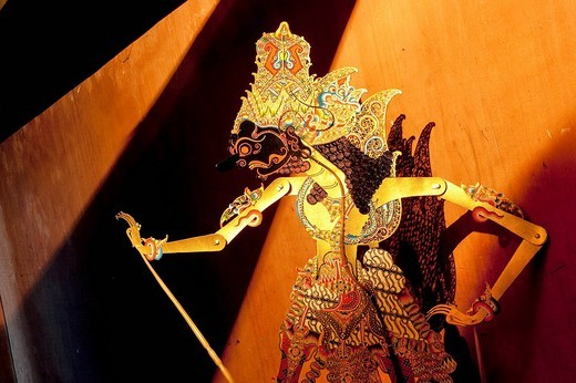 Stock Photo: 1792-115227 Indonesia, Java, Shadow Theatre, puppet show wayang kulit buffalo leather