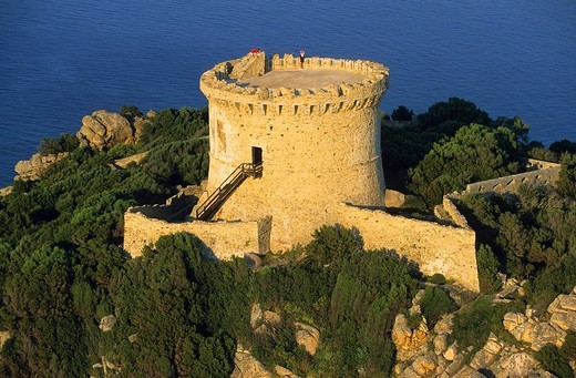France, Corse du Sud, south of Propriano, Pointe de Campomoro and the tower aerial view : Stock Photo