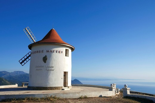 France, Haute Corse, Cap Corse, Mattei windmill above Centuri : Stock Photo