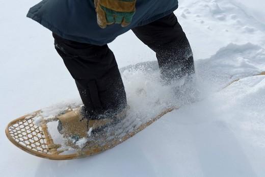 Stock Photo: 1792-116248 Canada, Quebec Province, Mauricie, Saint Alexis des Monts, Pourvoirie du Lac Blanc Resort, snowshoe