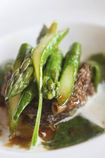 France, Var, La Cadiere d´Azur, dish with the first morels of the season, Mallemort asparagus, emulsion with Parmesan Cheese and green pastas, Rene and Jean Francois Berard´s recipe of Hostellerie Berard Restaurant : Stock Photo