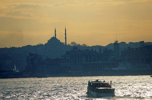 Turkey, Istanbul, Sultanahmet District, listed as World Heritage by UNESCO, Sultan Ahmet Camii Blue Mosque, Hagia Sophia Basilica and sailing on the Bosporus : Stock Photo
