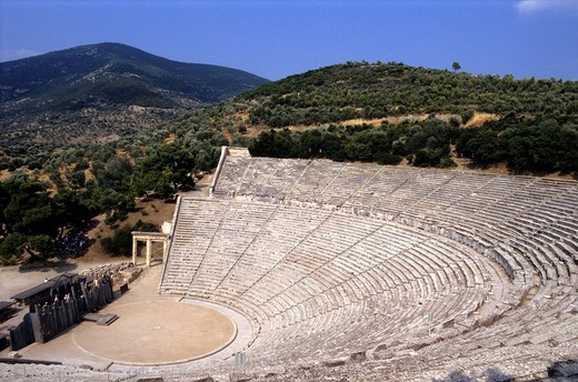 Greece, Peloponnese, the archaeological site of Epidaurus, listed as Wolrd Heritage by UNESCO, the theater built in the fourth century BC by the Argian architect Polykleitos the Younger : Stock Photo