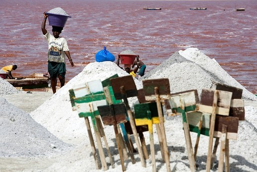 Stock Photo: 1792-117476 Senegal, Dakar Region, Lake Retba also called Pink Lake, salt collectors