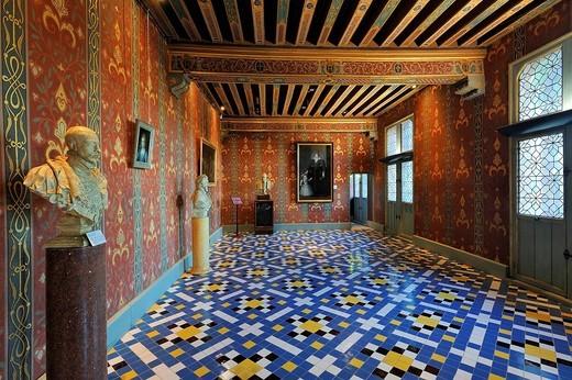 France, Loir et Cher, Loire Valley listed as World Heritage by UNESCO, Chateau de Blois, hall of queen Catherine de Medicis : Stock Photo