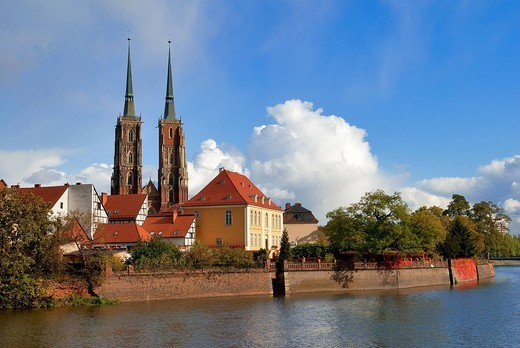 Poland, Silesia, Wroclaw, Ostrow Tumski Island and the Cathedral of St. John the Baptist : Stock Photo