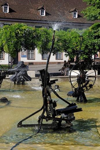 Switzerland, Basel, the Tinguely fountain : Stock Photo
