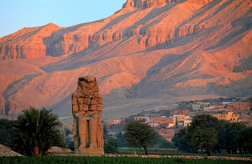 Egypt, Upper Egypt, Nile Valley, West Thebes, surroundings of Luxor, the Colossi of Memnon listed as World Heritage by UNESCO : Stock Photo