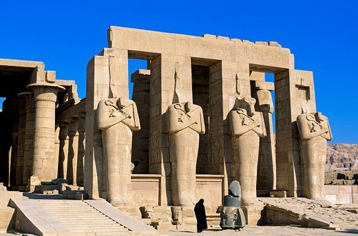 Stock Photo: 1792-119186 Egypt, Upper Egypt, Nile Valley, surroundings of Luxor, Thebes Necropolis listed as World Heritage by UNESCO, Western area, Ramesseum, Ramses II´s funerary temple, Osiris Pillars