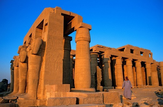 Egypt, Upper Egypt, Nile Valley, surroundings of Luxor, Thebes Necropolis listed as World Heritage by UNESCO, Western area, Ramesseum, Ramses II´s funerary temple, Osiris Pillars : Stock Photo