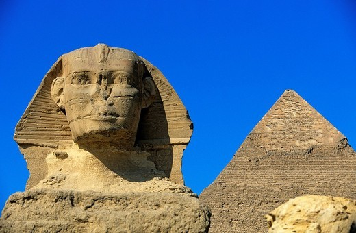 Egypt, Cairo, Guizeh, listed as World Heritage by UNESCO, the Sphinx in front of the pyramids : Stock Photo