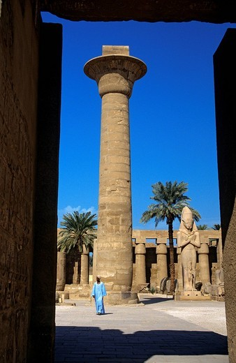 Egypt, Upper Egypt, Upper Egypt, Nile Valley, Luxor, Karnak listed as World Heritage by UNESCO, temple dedicated to Amon God, papyriform column : Stock Photo