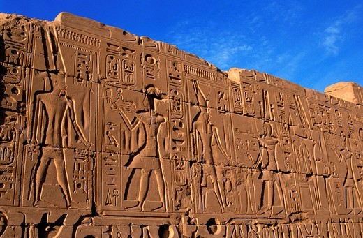 Egypt, Upper Egypt, Upper Egypt, Nile Valley, Luxor, Karnak listed as World Heritage by UNESCO, temple dedicated to Amon God, bas relief with offerings to the gods : Stock Photo
