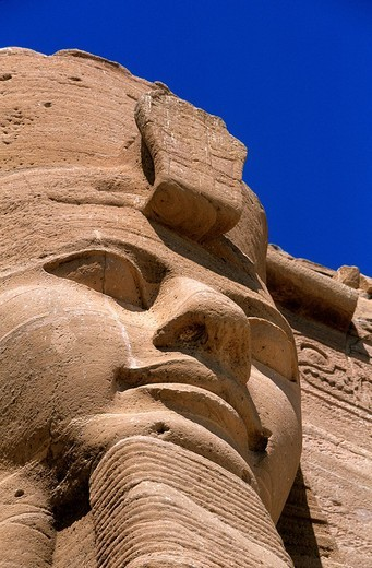 Stock Photo: 1792-119280 Egypt, Upper Egypt, Nubia, Abu Simbel, site listed as World Heritage by UNESCO, Ramses II Temple on the edge of Lake Nasser, one of the four huge heads of Ramses II