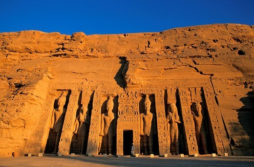 Egypt, Upper Egypt, Nubia, Abu Simbel, site listed as World Heritage by UNESCO, Nefertari Temple dedicated to Hathor Goddess at the edge of Lake Nasser : Stock Photo