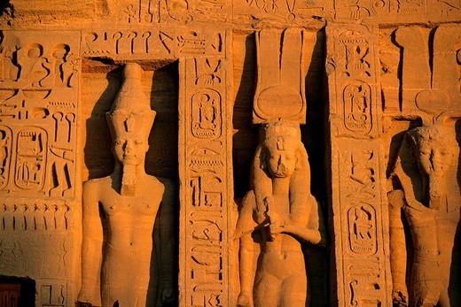 Stock Photo: 1792-119284 Egypt, Upper Egypt, Nubia, Abu Simbel, site listed as World Heritage by UNESCO, Nefertari Temple dedicated to Hathor Goddess at the edge of Lake Nasser