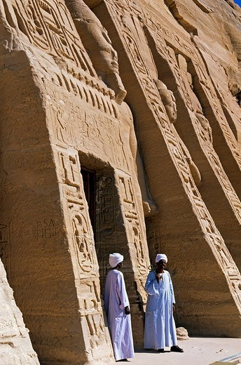 Egypt, Upper Egypt, Nubia, Abu Simbel, site listed as World Heritage by UNESCO, Nefertari Temple dedicated to Hathor Goddess at the edge of Lake Nasser, guards at the entry : Stock Photo