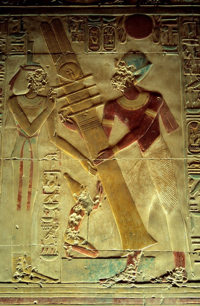 Stock Photo: 1792-119289 Egypt, Upper Egypt, Nile Valley, Nubia, Abydos Temple, pharaoh Seti I and Isis Goddess raising the Djed Pillar