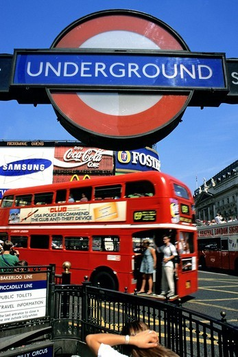 United Kingdom, London, City of Westminster, Piccadilly Circus, doubledecker bus : Stock Photo